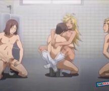 Anime hentai gif dois machos comendo uma peituda safada